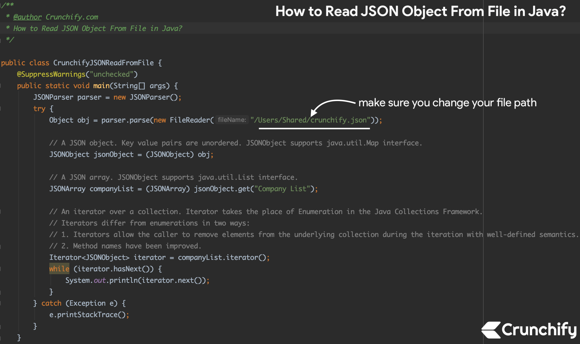 How to Read JSON Object From File in Java? - Crunchify Tutorial