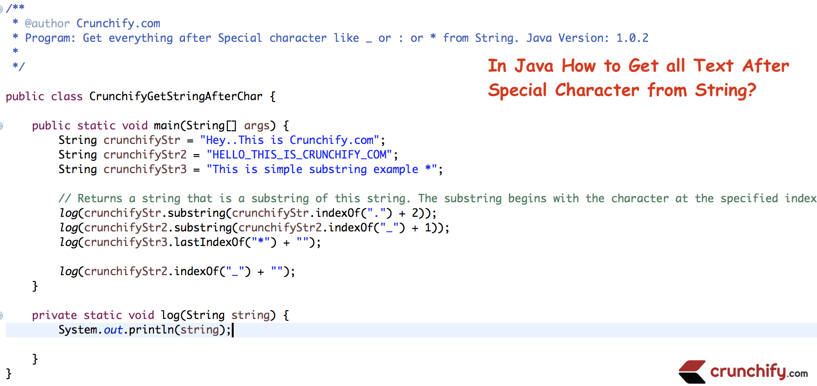 In Java How To Get All Text After Special Character From String