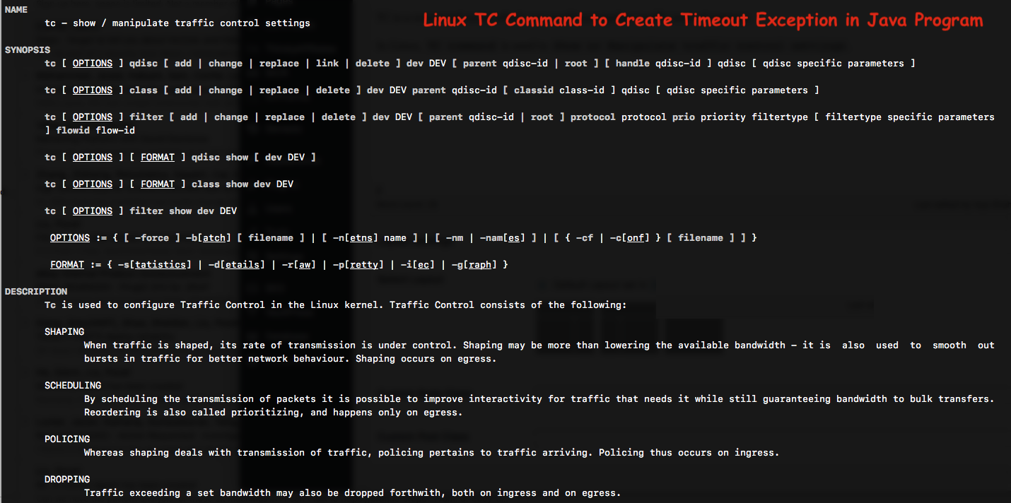 Linux TC Command to Create TimeoutException in Java Program