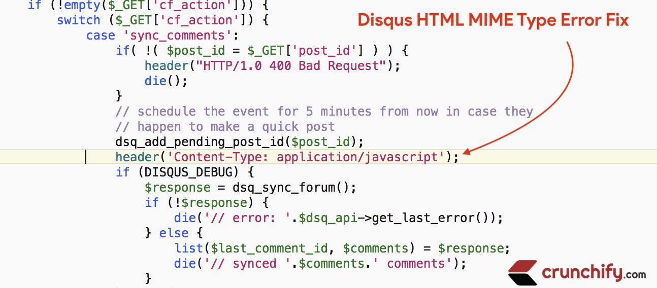 Disqus HTML MIME Type Error Fix