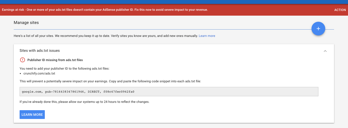 Earnings at risk - One or more of your ads.txt files doesn't contain your AdSense publisher ID
