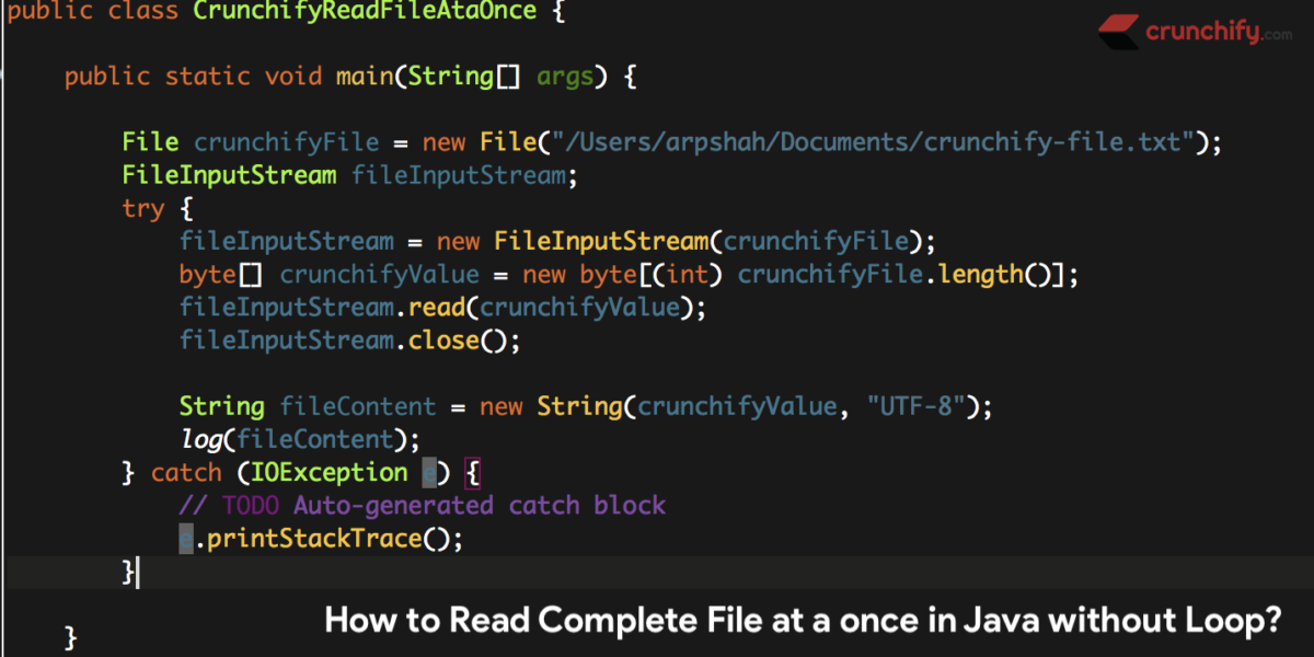How to Read Complete File at a once in Java without using any Loop?