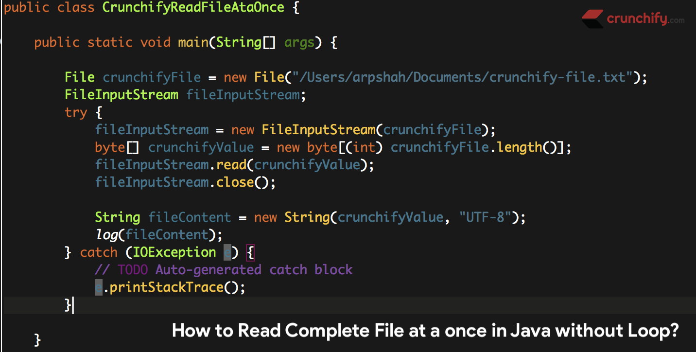 How to Read Complete File at a once in Java without using any Loop