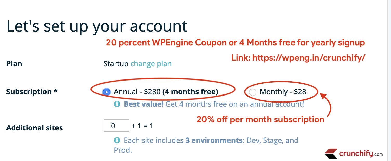 20 percent WPEngine Coupon or 4 Months free for yearly signup