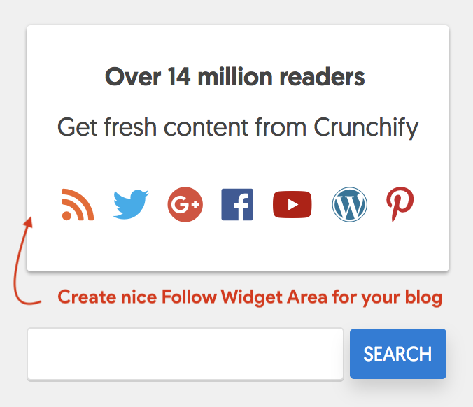 Crunchify - Create nice Follow Widget Area for your blog