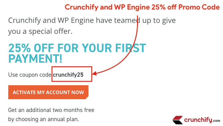 Crunchify and WP Engine 25% off Promo Code