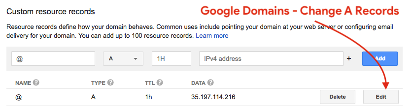 Google Domains - Change A Records