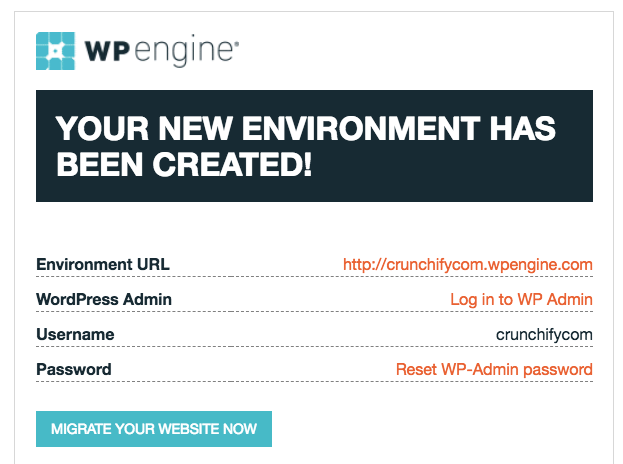 WPEngine Site Successfully Created and Ready to use