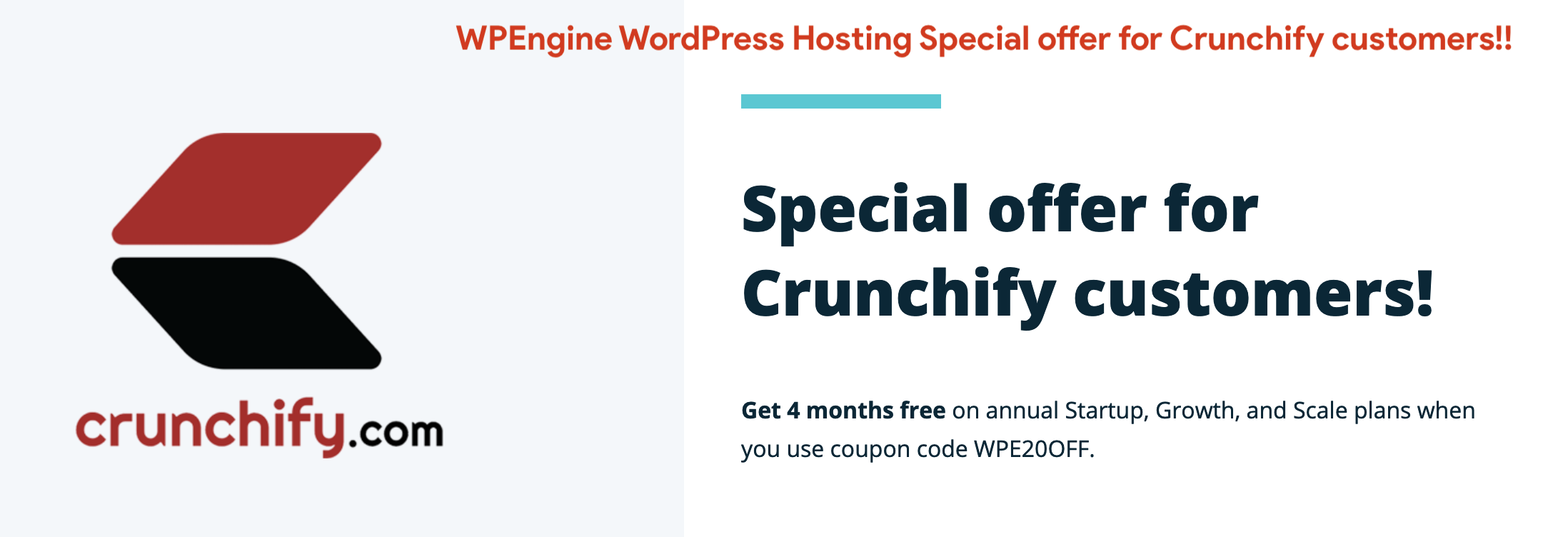 WPEngine WordPress Hosting Special offer for Crunchify customers