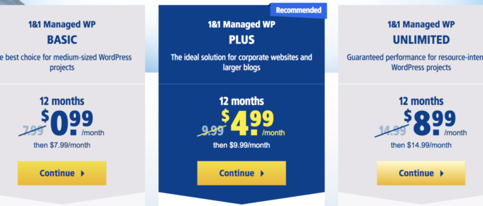 1and 1 WordPress Managed Hosting Plans