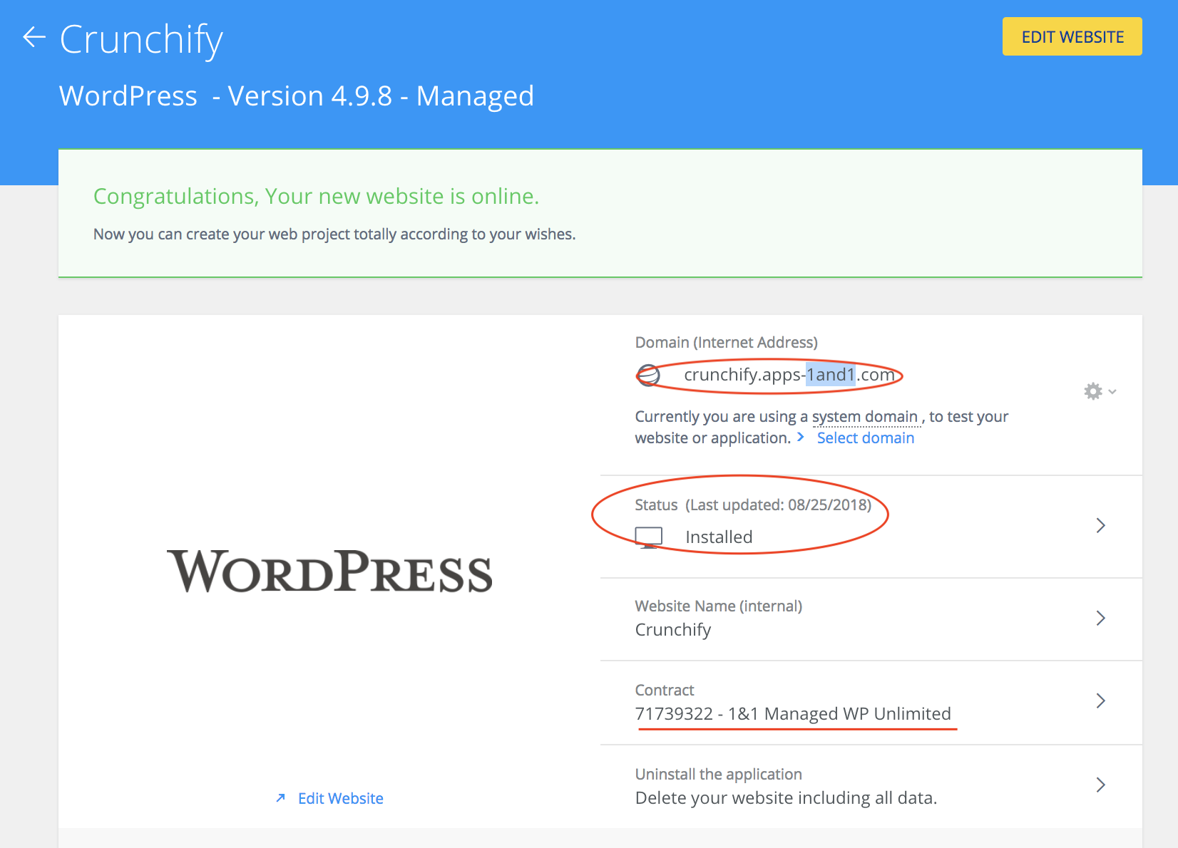 1and1 WordPress site is ready to use