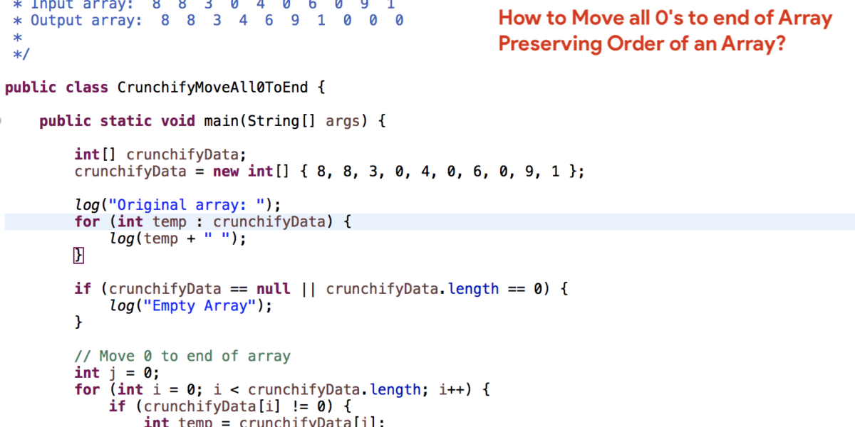 How to Move all 0's to end of Array Preserving Order of an Array