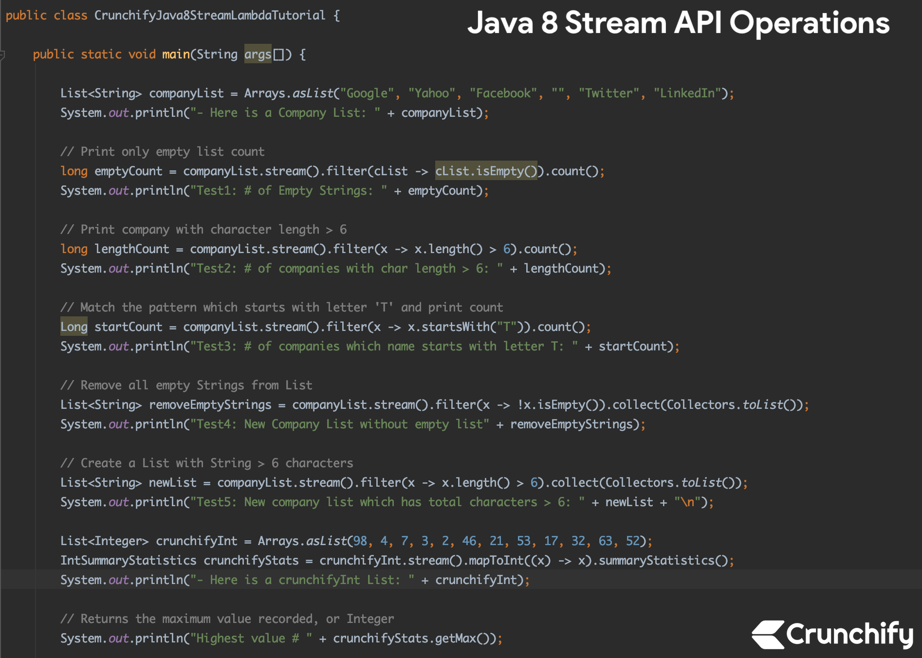 Java 8 Stream API Operations - Crunchify Tutorial