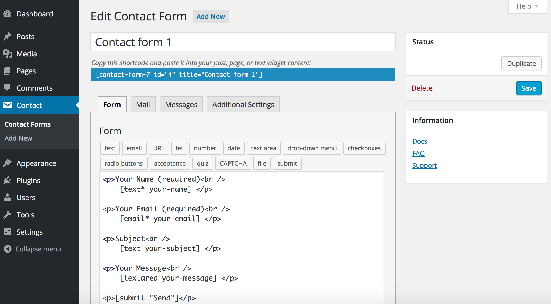 Contact Form 7 WordPress Plugin Options