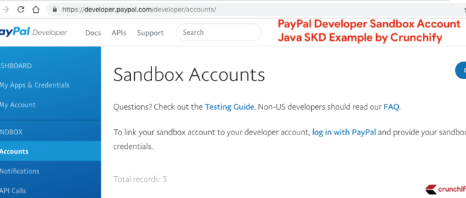 PayPal Developer Sandbox Account - Java SKD Example by Crunchify