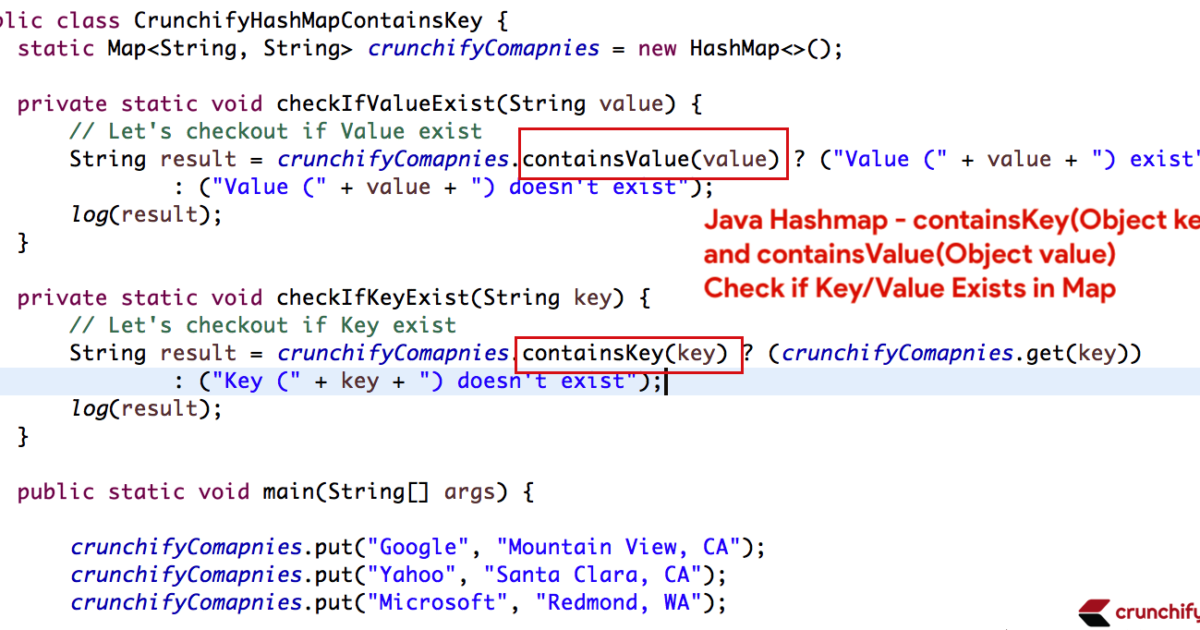 Crunchify Java Hashmap containsKey containsValue Tutorial