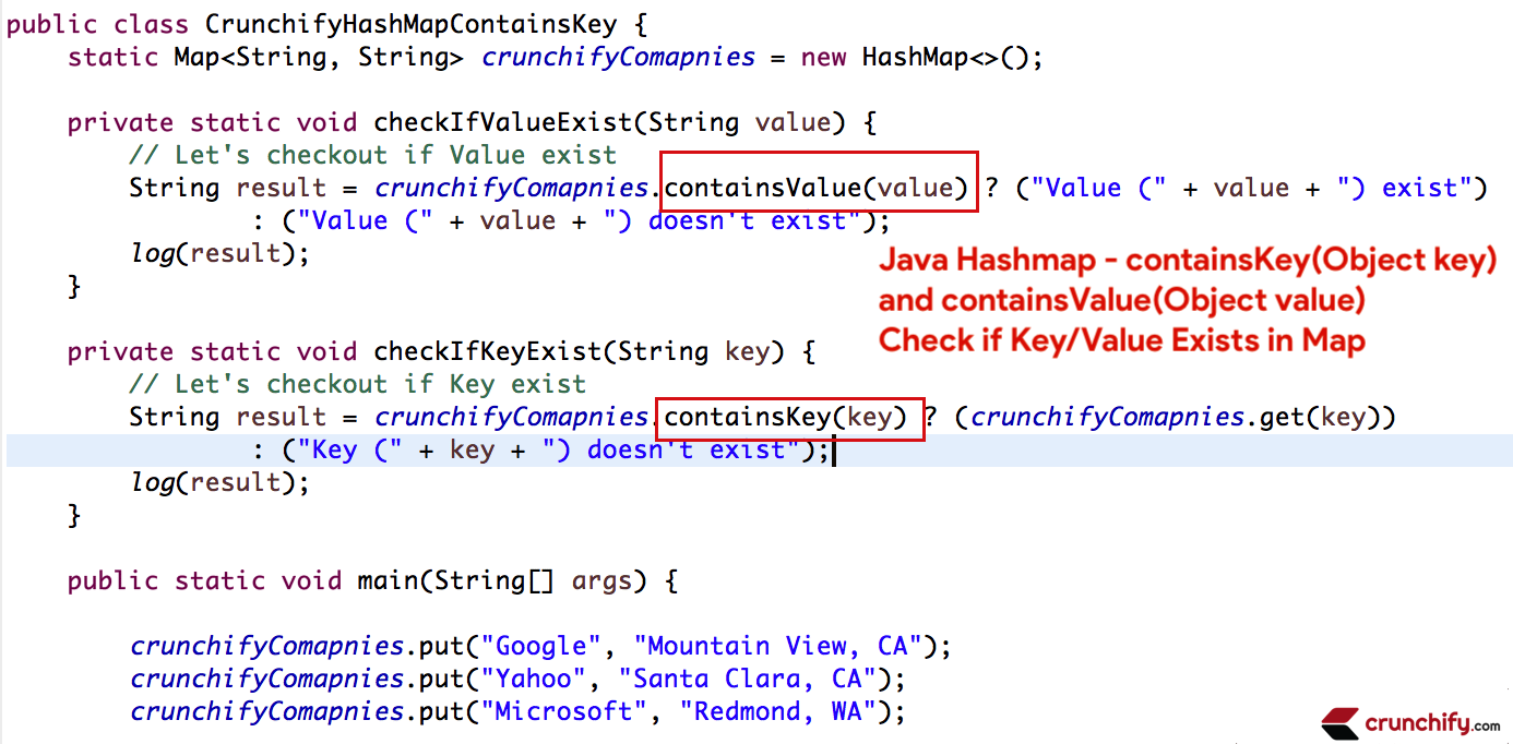 Java Hashmap - containsKey(Object key) and containsValue