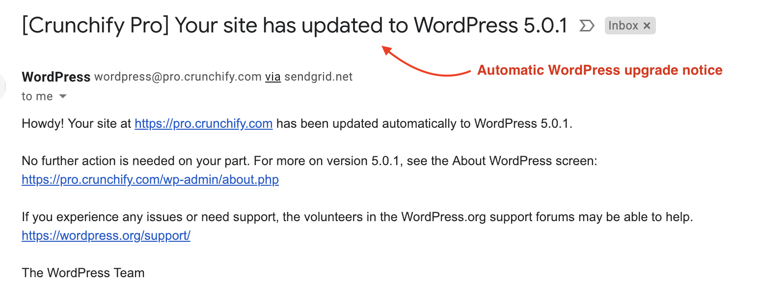 Your site has updated to WordPress 5.0.1 Email