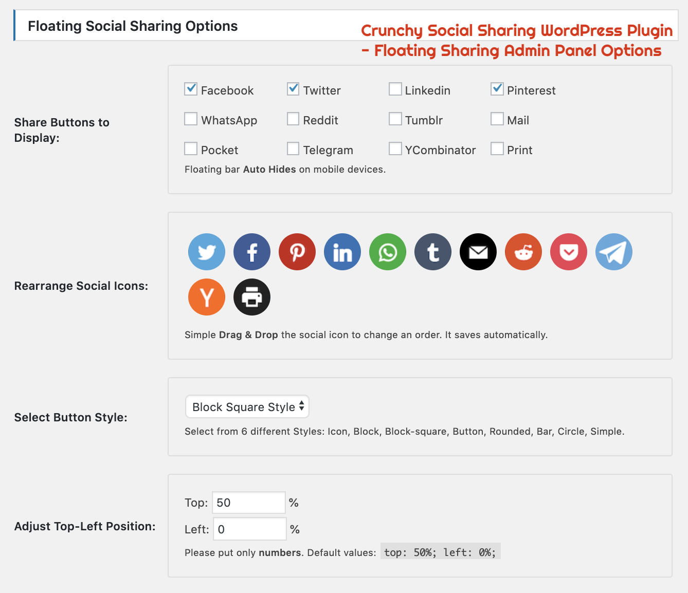 Crunchy Sharing WordPress Plugin - Floating Sharing Admin Panel Options.png