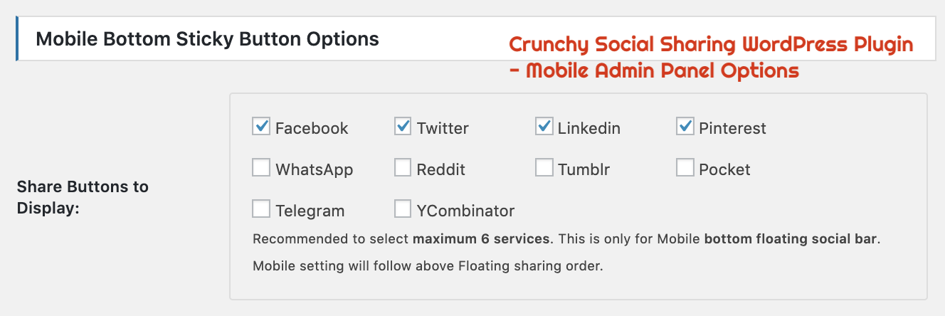 Crunchy Sharing WordPress Plugin - Mobile Bottom Sharing Admin Panel Options.png