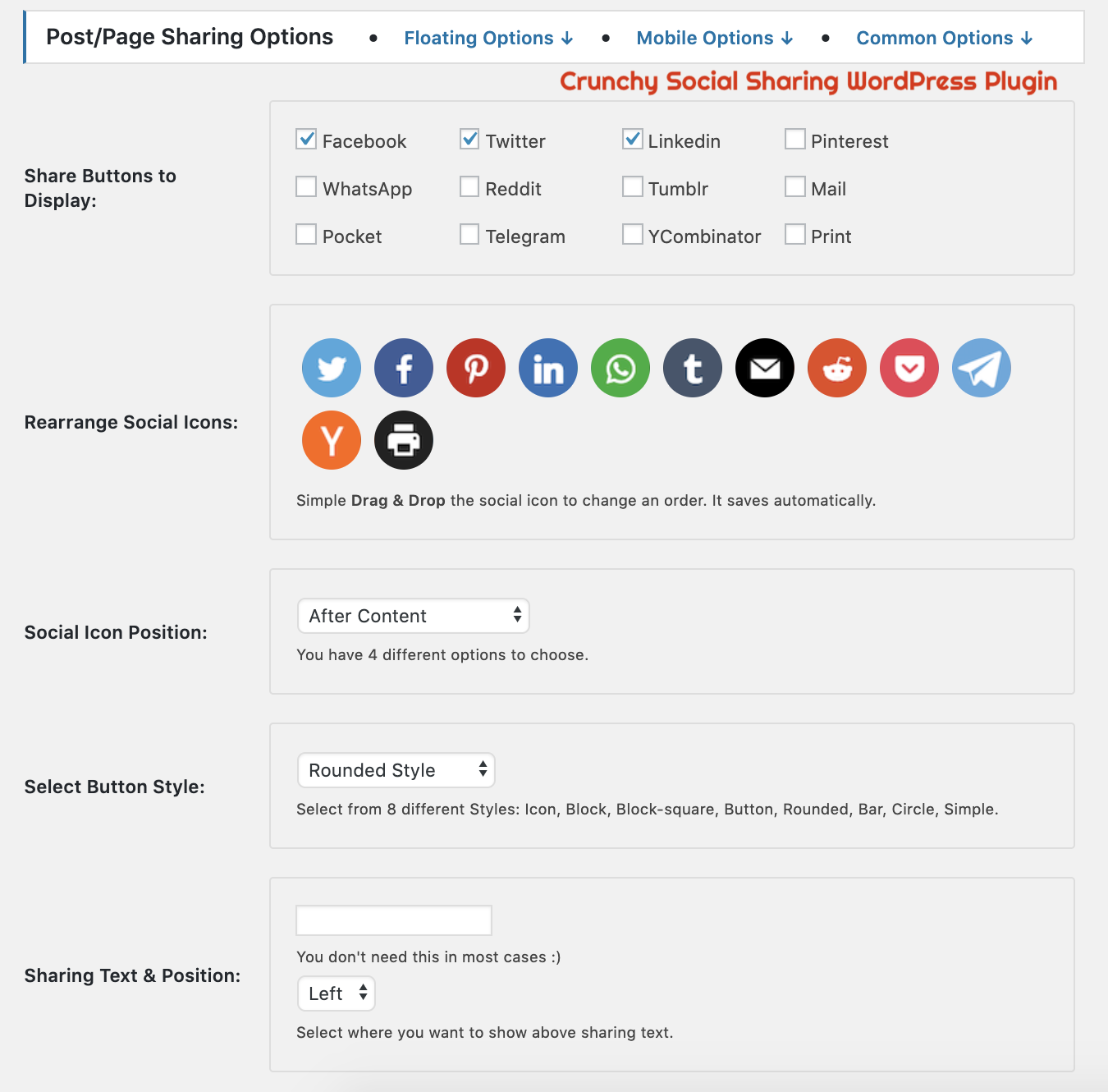 Crunchy Sharing WordPress Plugin - Post Page Sharing Admin Panel Options