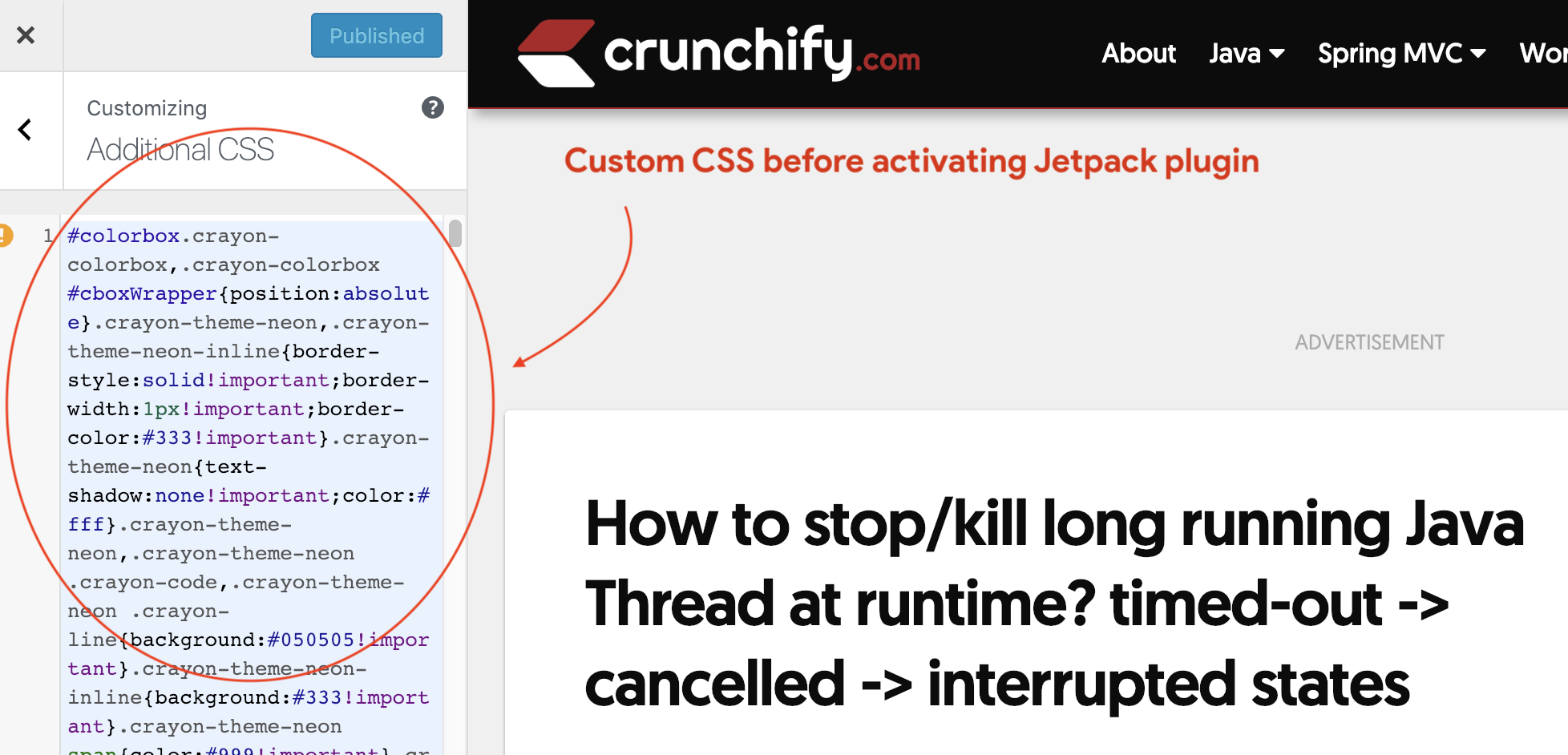 Custom CSS before activating Jetpack plugin