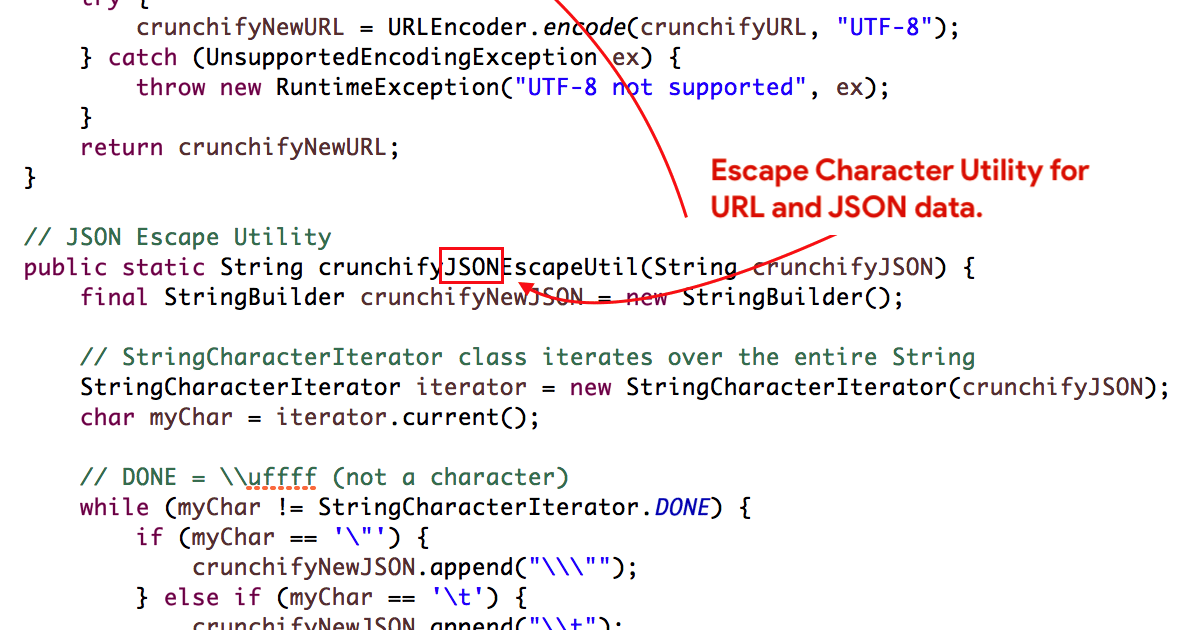 Escape Character Utility for URL and JSON data - Feel free to use in your Java Project