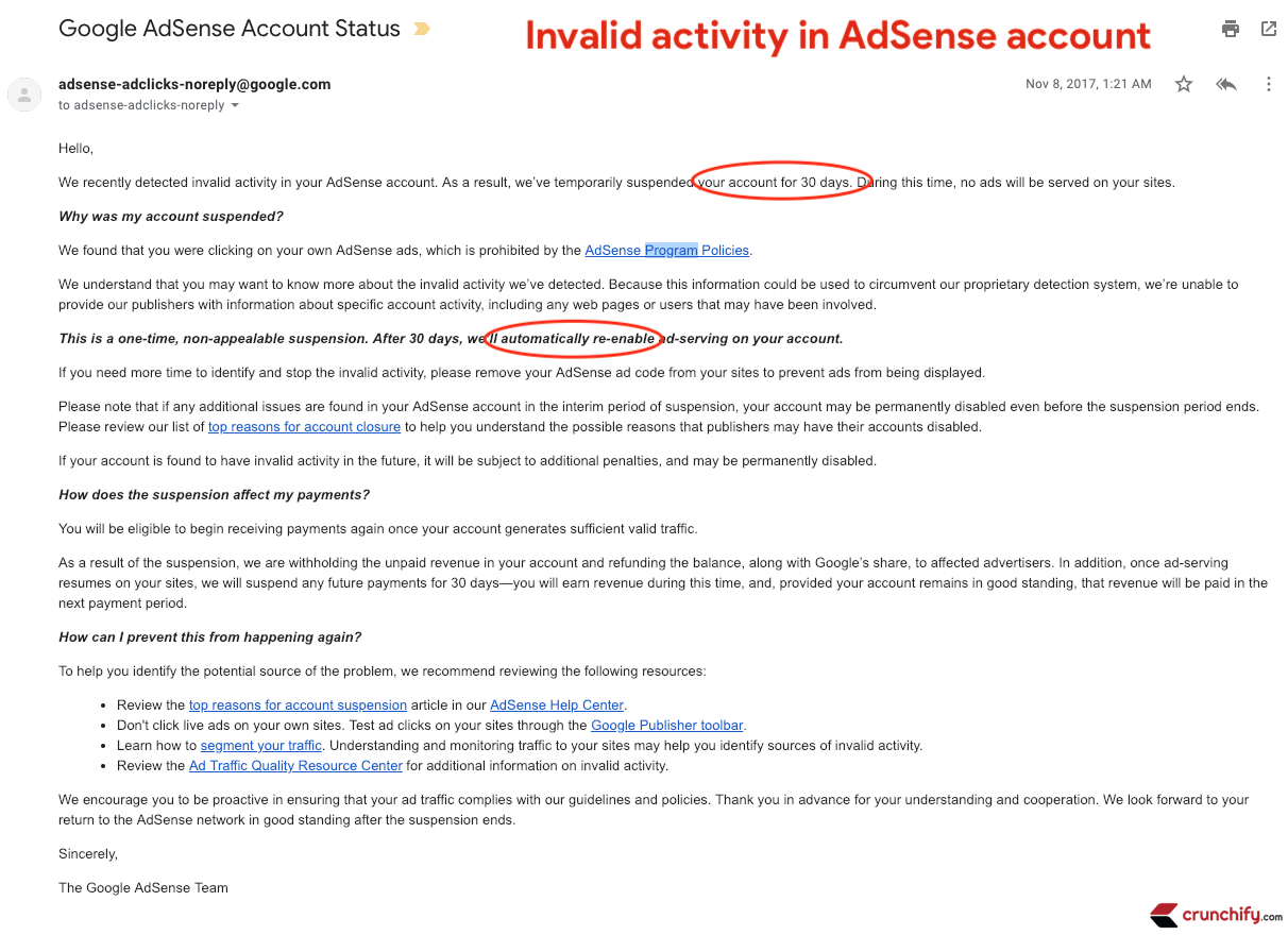 Invalid activity in your AdSense account - Crunchify Knowledge base