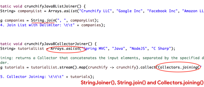 Java8 StringJoiner, String.join() and Collectors.joining() Tutorial with all Details - 5 Different ways - Crunchify Tips