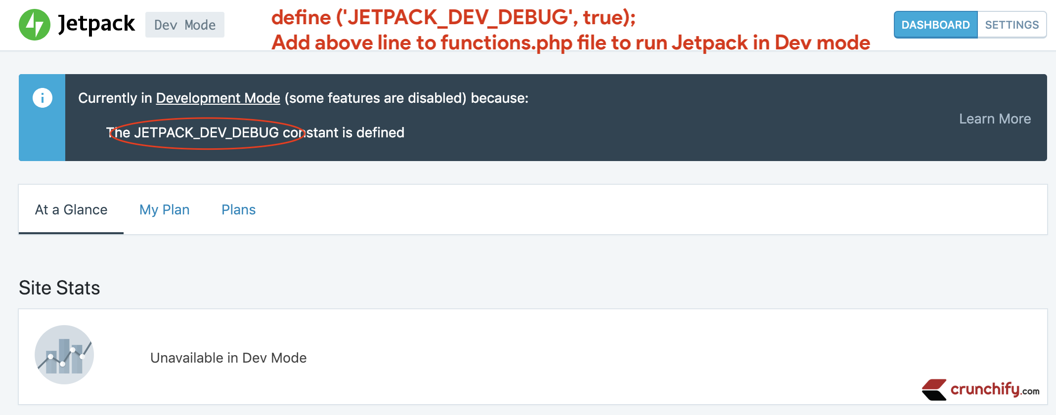 Jetpack in Development mode - Crunchify Tips