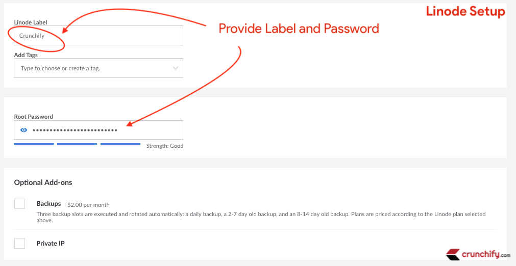 Linode Set Password and Label