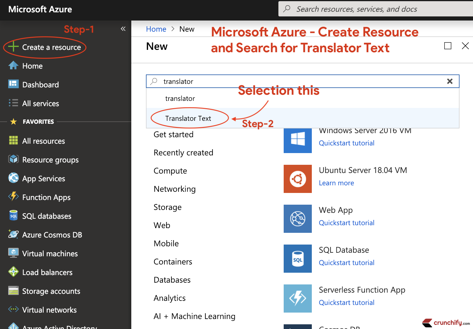 Microsoft Azure - Create Resource and Search for Translator Text