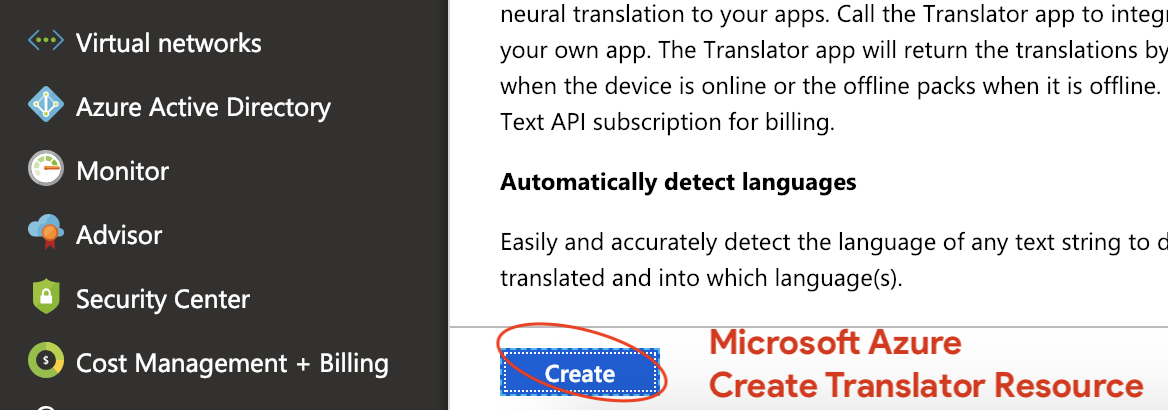 Microsoft Azure - Create Translator Resource