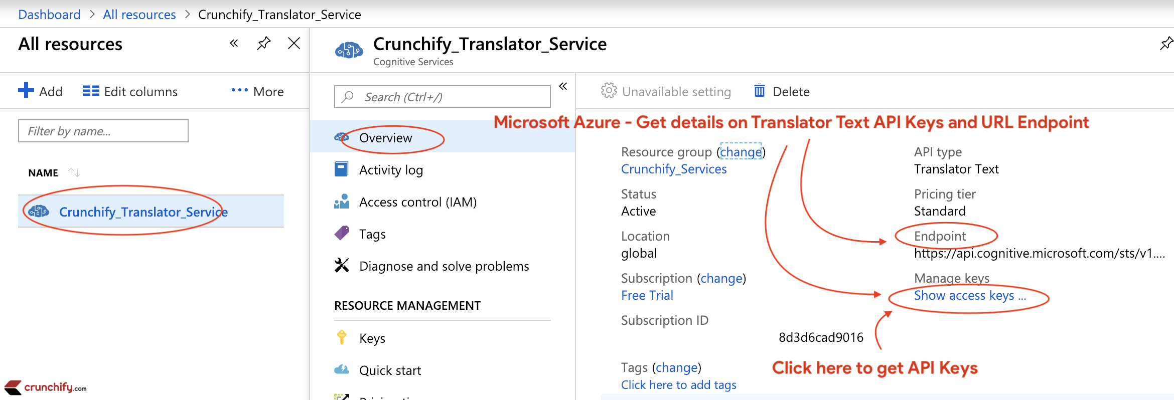 Microsoft Azure - Get details on Translator Text API Keys and URL Endpoint
