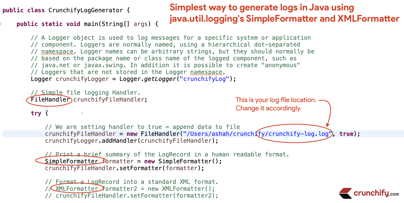 Simplest way to generate logs in Java using java.util.logging's SimpleFormatter, XMLFormatter