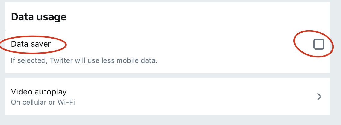 Twitter Data Saver Option