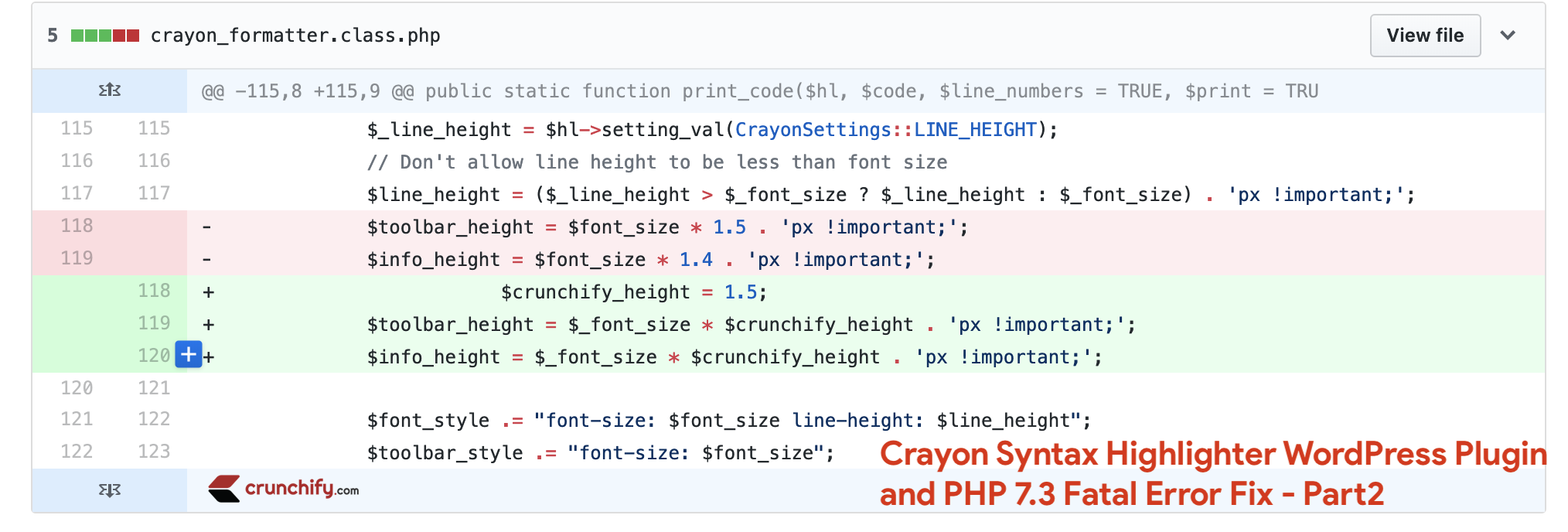Crayon Syntax Highlighter PHP 7.3 fix - crayon_formatter.class.php