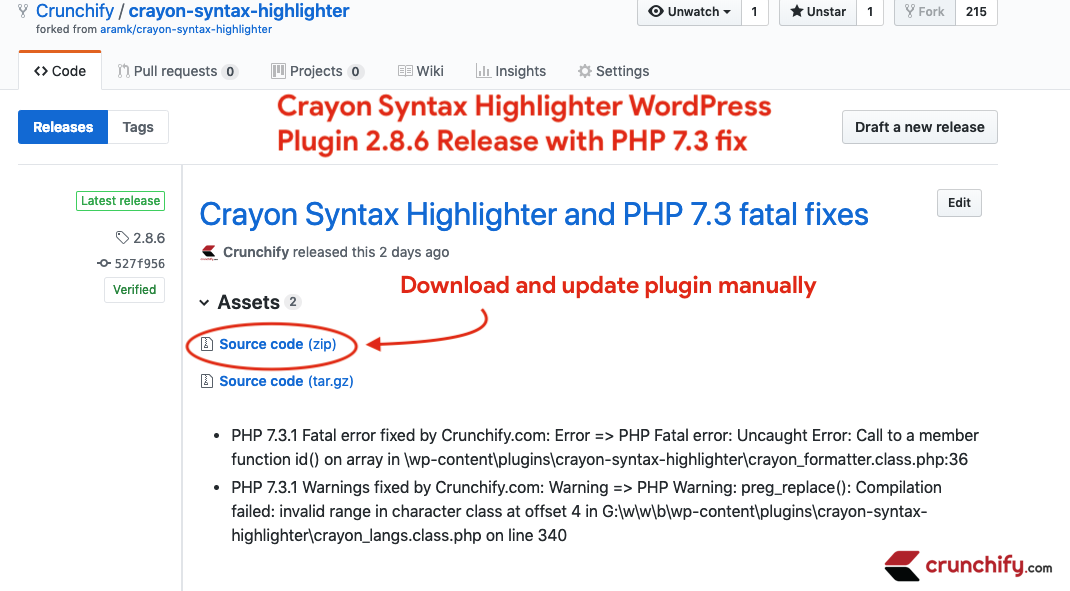 Crayon Syntax Highlighter WordPress Plugin 2.8.6 Release with PHP 7.3 fix