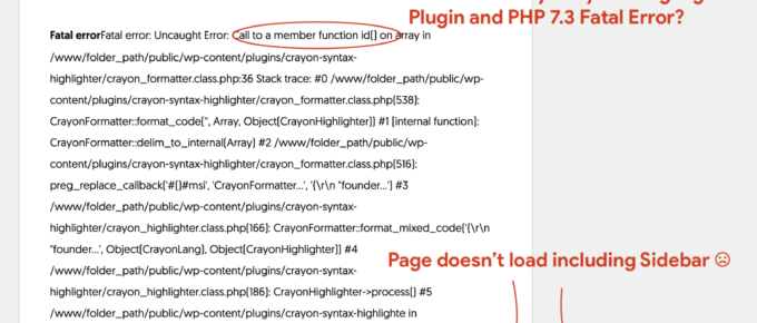 Crayon Syntax Highlighter and PHP 7.3 Issues