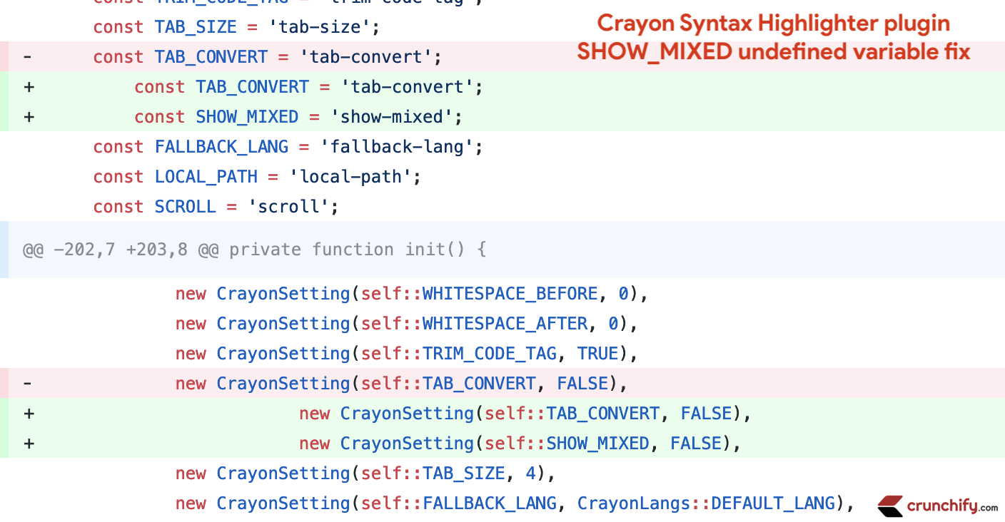 Crayon Syntax Highlighter plugin SHOW_MIXED undefined variable fix