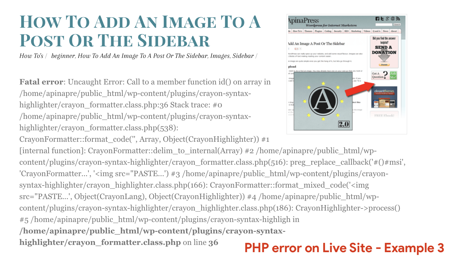 PHP error on Live Site - Example 3