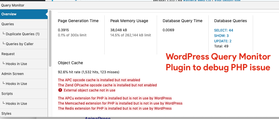 WordPress Query Monitor Plugin to debug PHP issue