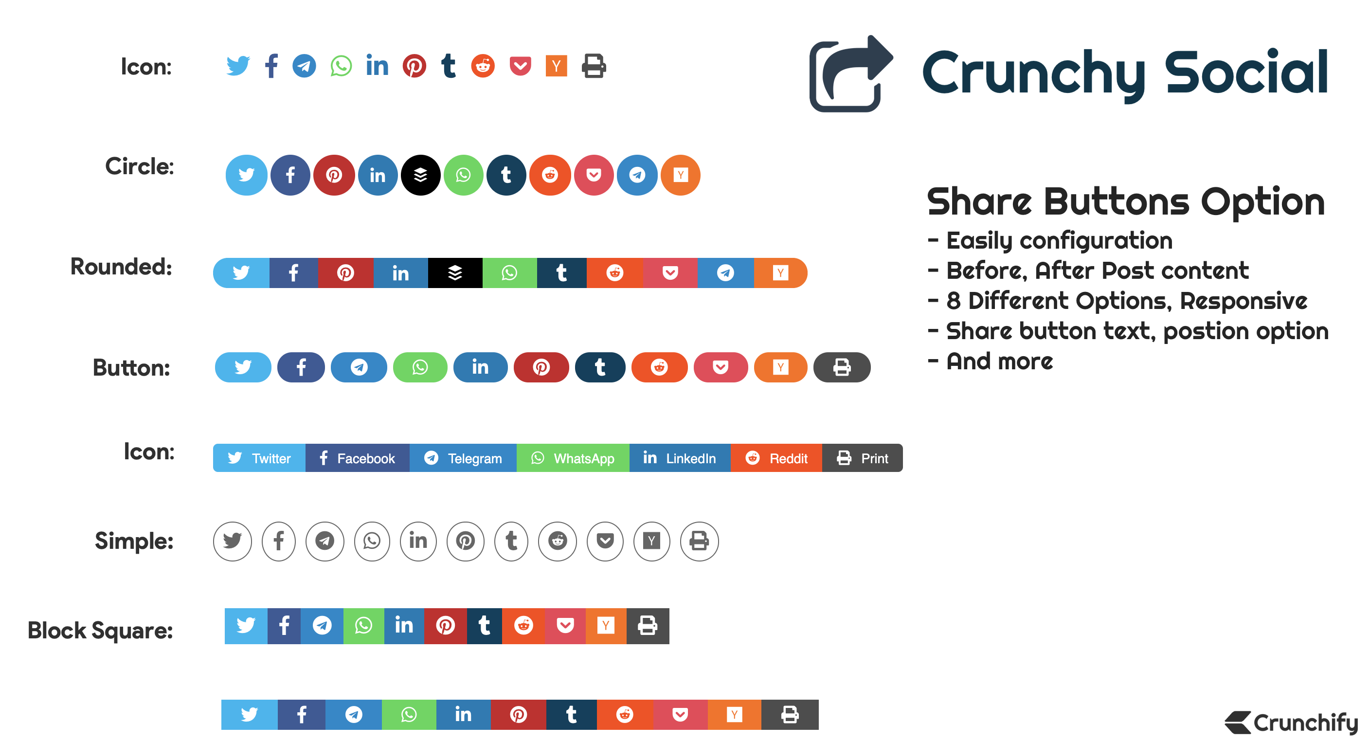 Crunchy Sharing Sharing Premium Plugin - Normal Post Buttons Options