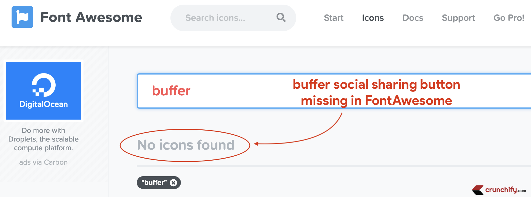 buffer social sharing button missing in FontAwesome