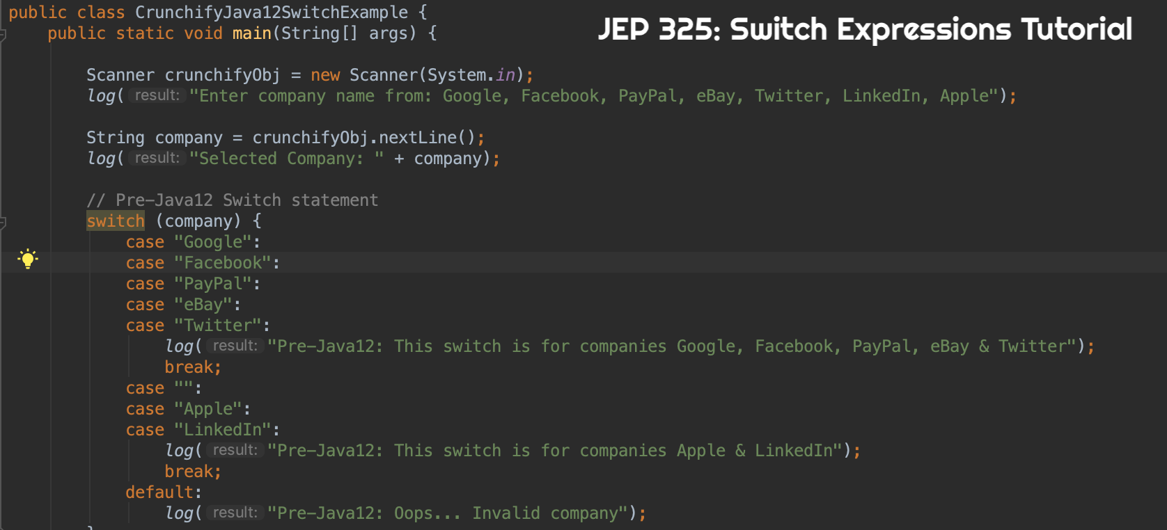 JEP 325 Switch Expressions Tutorial by Crunchify