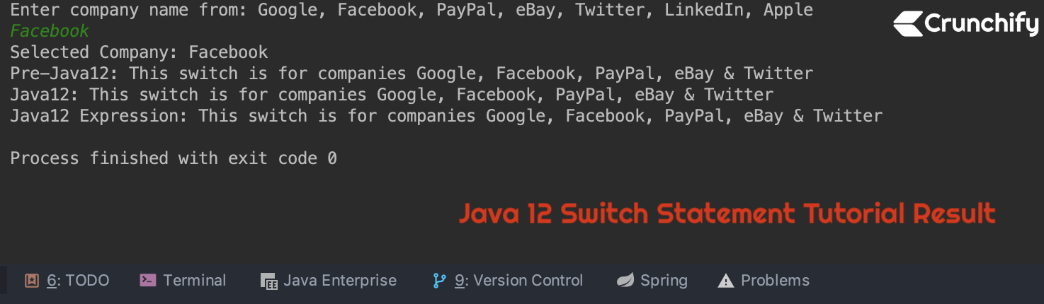 Java 12 Switch Statement Tutorial Result - Crunchify