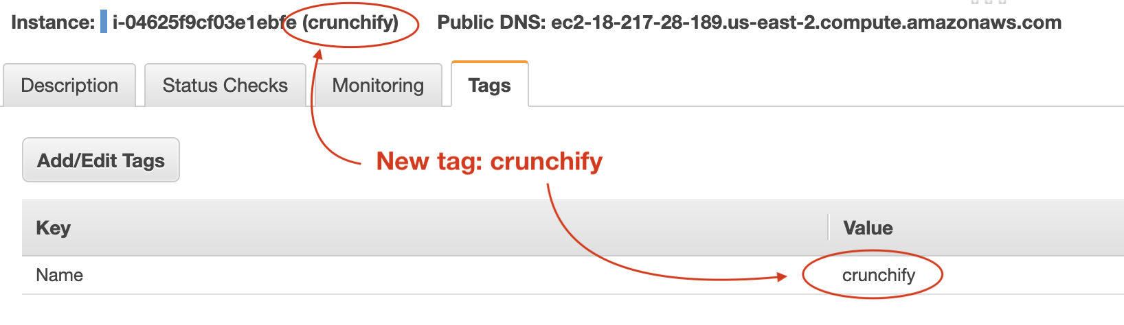 Amazon EC2 - new tag and name created - Crunchify Tips