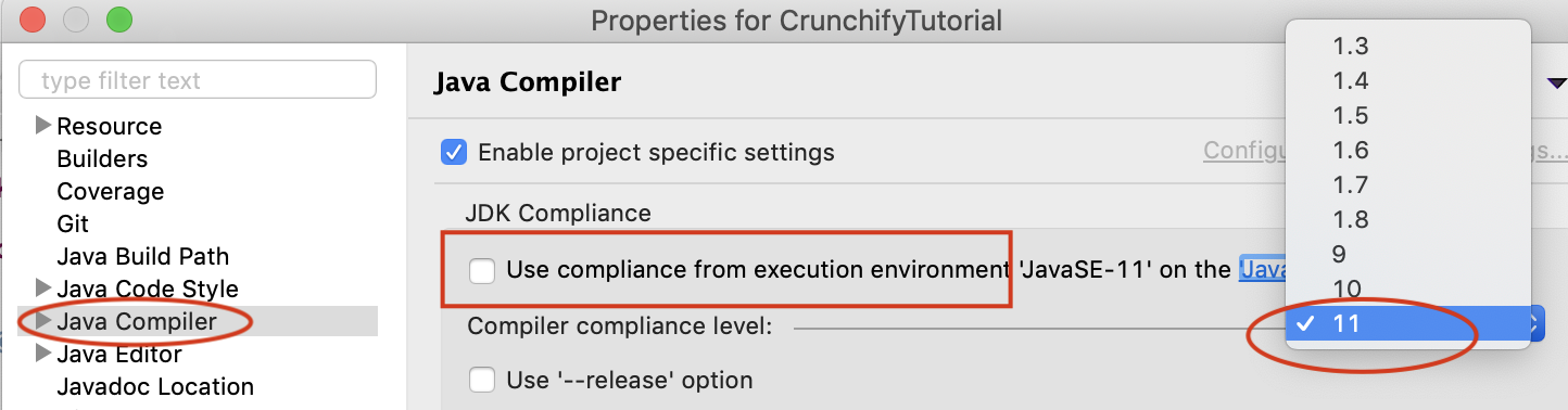 Java Compiler, Select Execution Environment 11