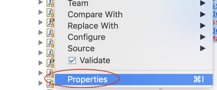 Right click on project and click on properties