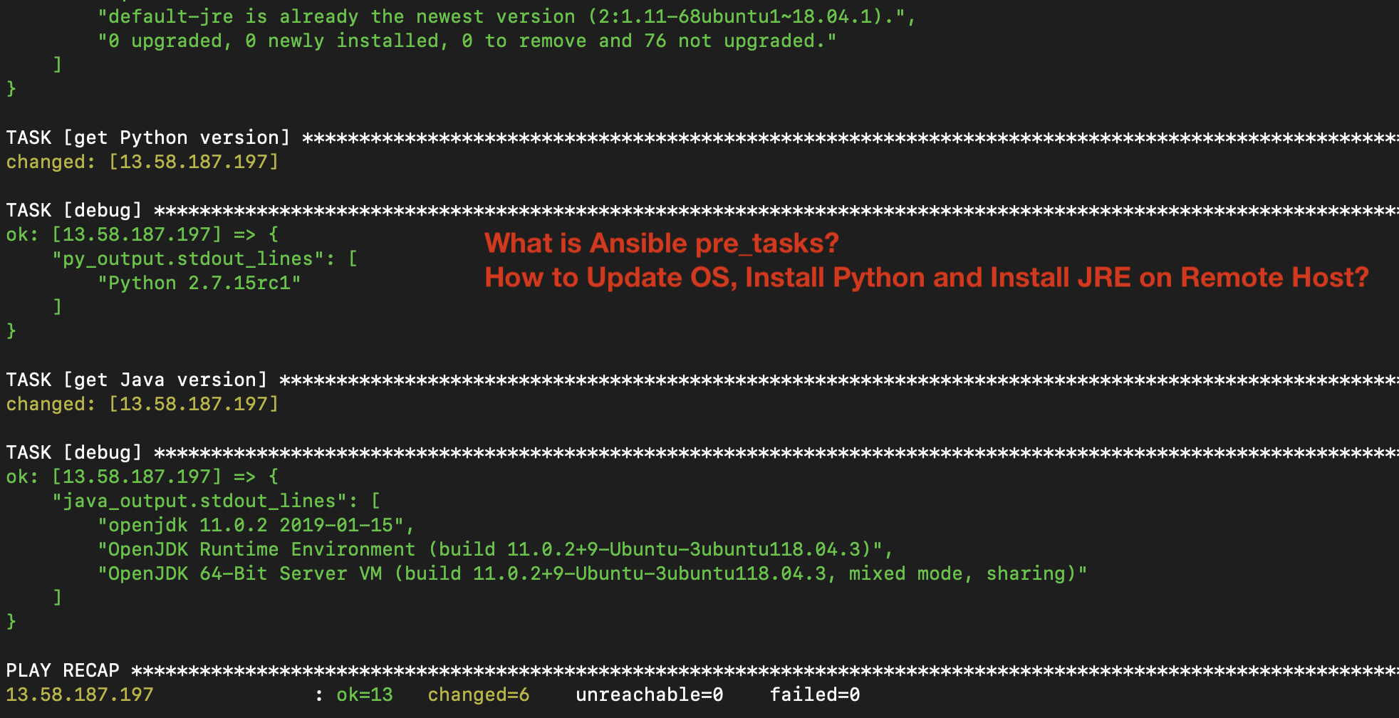What is Ansible pre_tasks? Update OS, Install Python and Install JRE on Remote Host?